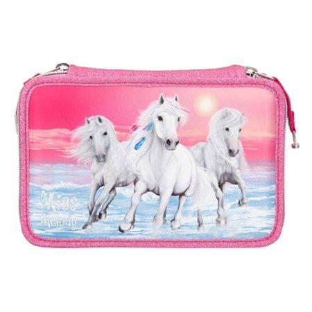 Miss Melody Ceruzatartó - 3 emelet felszereléssel, Rózsaszín, 3 fehér ló