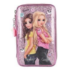 Top Model Ceruzatartó - 3 emelet felszereléssel, Hayden + Candy, rózsaszín flitterekkel