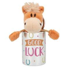 Miss Melody Plyšový koník v plechovej krabičke s odkazom , Svetlo hnedý koník, krabička: Good Luck