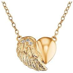 Engelsrufer Pozlátený strieborný náhrdelník Srdce s krídlom a zirkónmi ERN-LILHW-G striebro 925/1000