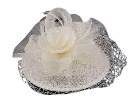 Kraftika 1db krémes könnyű mini kalap / fascinator tollal