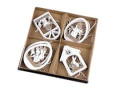 Kraftika 8ks bílá béžová dřevěná velikonoční dekorace k zavěšení