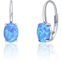 JVD Błyszczące srebroKolczyki z niebieskimi syntetycznymi opalami SVLE0695XH2O300