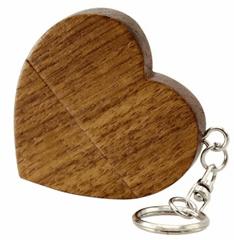 CTRL+C Drevený USB v tvare srdca s príveskom, orech