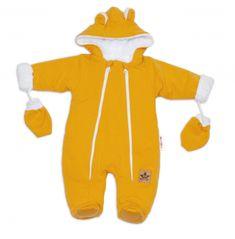 Baby Nellys Zimní kombinézka s kapucí a oušky + rukavičky, hořčicová