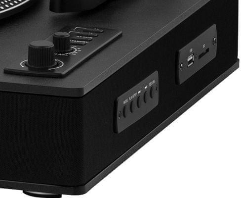 moderní gramofon sencor stt 510uba Bluetooth usb slot sd karty nahrávání z desek přehrávání hudby 2 rychlosti gramofonu mm přenoska kryt proti prachu vestavěné reproduktory line out řemínkový pohon