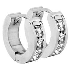 Troli Ocelové náušnice kroužky s krystaly
