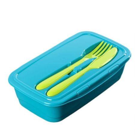 IDEA Ebédtartály 1 l, evőeszközökkel, türkiz színű