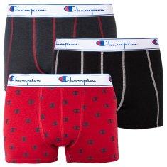 Champion 3PACK pánské boxerky červené s logem (Y081W)