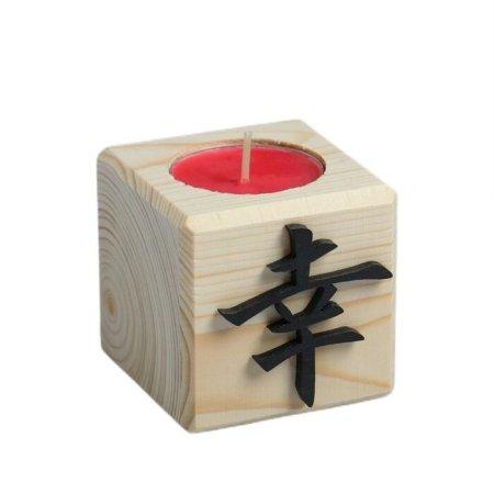 """Kraftika Świeca w drewnianej świecznik """"cube"""