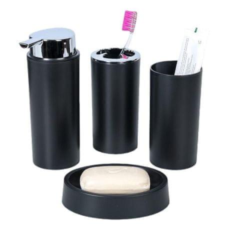 Kraftika Fürdőszoba készlet, 6 silva elemek, fekete szín