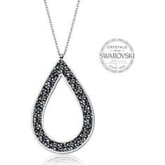 Levien Krásný náhrdelník s černými krystaly SS Rocks Pear 49 grey metal