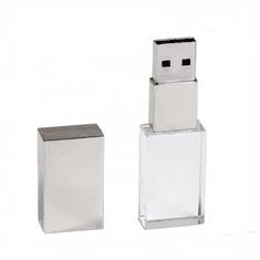 CTRL+C USB KRYSTAL strieborný, kombinácia sklo a kov, LED podsvietenie