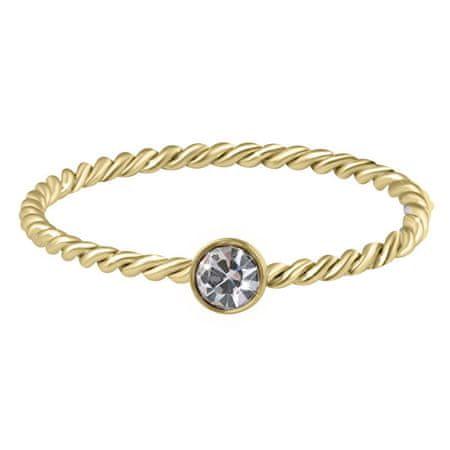Troli Aranyozott csavart acél gyűrű színtiszta cirkónium kővel Gold (Kerület 60 mm)