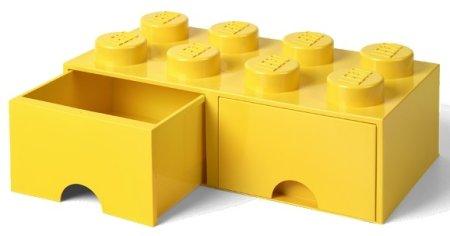 LEGO Tároló doboz 8 fiókkal, sárga