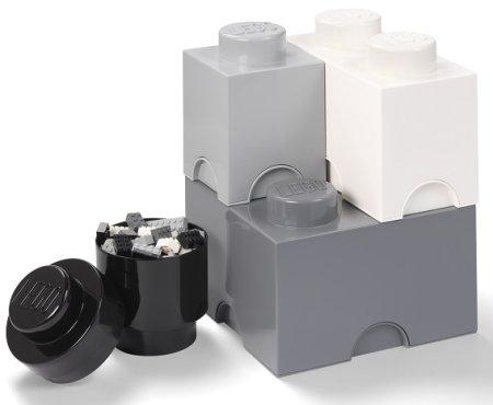 LEGO pudełka do przechowywania Multi-Pack 4 szt. - czarny, biały, szary