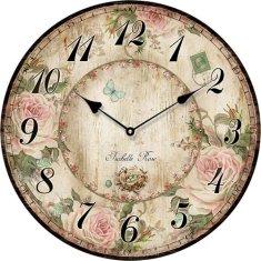 Isabelle Rose Dřevěné nástěnné hodiny s květy 29 cm