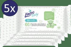 LINTEO Nedves törlőkendő Baby 100% BIODEGRADABLE, 5x48 db