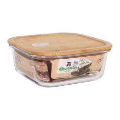 Čtvercový svačinový box s víkem Quttin Sklo Bambus