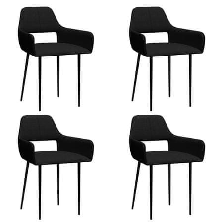 shumee Krzesła stołowe, 4 szt., czarne, tapicerowane tkaniną