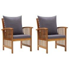 shumee Záhradné stoličky s vankúšmi 2 ks akáciový masív