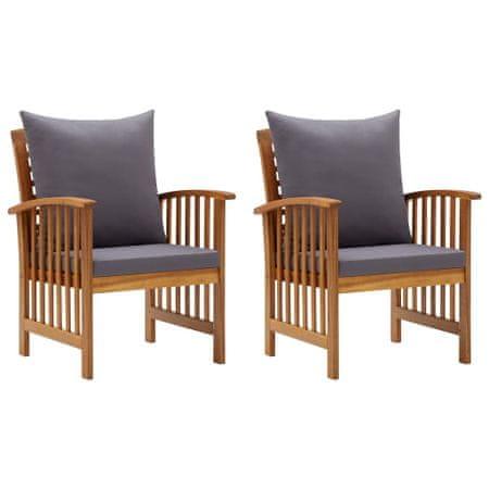 shumee 2 db tömör akácfa kerti szék párnákkal