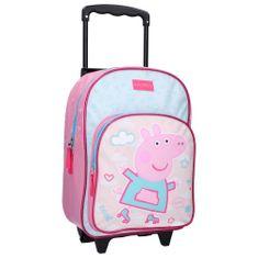 """Vadobag Dievčenská školská taška na kolieskach """"Peppa Pig - Roll with me""""- ružová"""