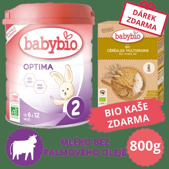 Babybio OPTIMA 2 kojenecké bio mléko 800 g + Dárek nemléčná obilná bio kaše 200 g