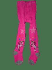 KUGO Dívčí růžové punčocháče s jednorožcem.
