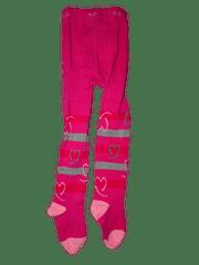 KUGO Dívčí růžové punčocháče se srdíčky.