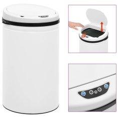 shumee Automatyczny kosz na śmieci z czujnikiem, 40 L, stal, biały