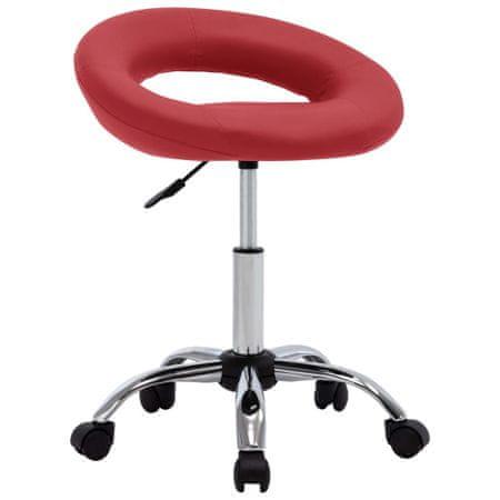 slomart Vrtljiv delovni stol vinsko rdeče umetno usnje