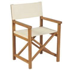 shumee Składane krzesło reżyserskie, lite drewno tekowe, kremowe