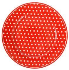 Isabelle Rose Dezertní talíř červený s puntíky 20 cm