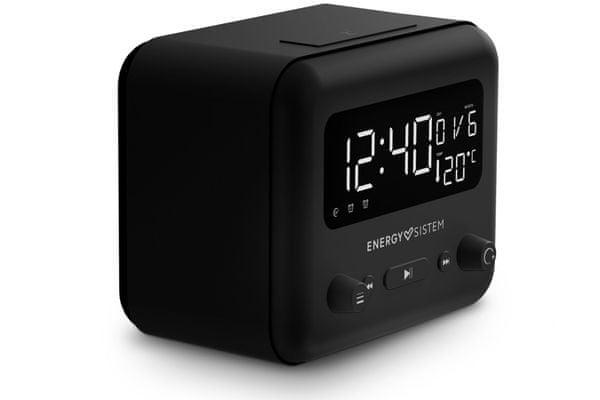 moderní bezdrátový radiobudík energy sistem clock speaker 2 bluetooth 5.0 časovač vypnutí 2 alarmy snooze 5 režimů buzení 1200mah baterie zvuk v příjemné audio kvalitě ukazatel okolní teploty fm tuner usb přehrávání slot pro microSD karty aux in sluchátkový výstup