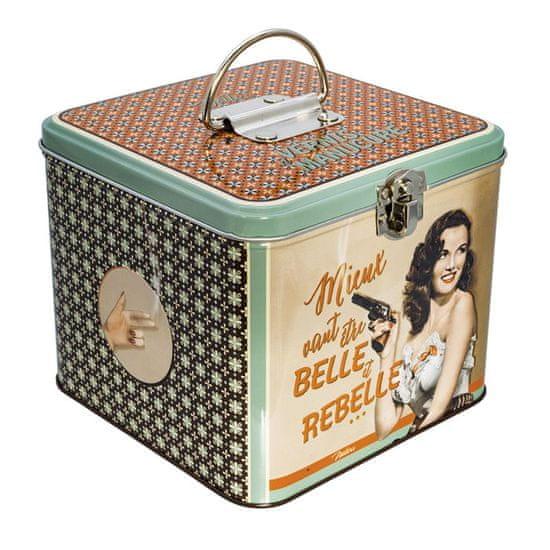 """Natives , Vintage, Dóza na laky na nechty """"Belle et rebelle"""" 15x15x13 cm, plech, 610210"""