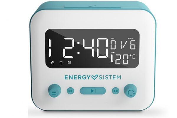 moderný bezdrôtový rádiobudík energy sistem clock speaker 2 bluetooth 5.0 časovač vypnutia 2 alarmy snooze 5 režimov budenia 1200mAh batéria zvuk v príjemnej audio kvalite ukazovateľ okolitej teploty fm tuner usb prehrávanie slot pre microSD karty aux in slúchadlový výstup