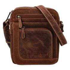 Diviley Elegantní pánská kožená taška Diviley Nevada line, světle hnědá