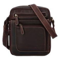 Diviley Elegantní pánská kožená taška Diviley Nevada line, tmavě hnědá