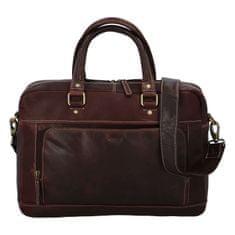 Diviley Pánská cestovní business taška kožená Diviley luxury, tmavší hnědá 1