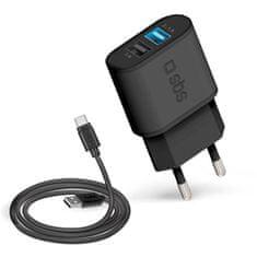 SBS 2x kućni punjač USB 2.1 A i TYPE C, crni