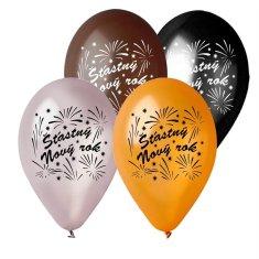 Latexové balóniky - Šťastný nový rok - Silvester - 5 ks - 30 cm