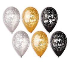 Latexové balóniky - Happy New Year - Silvester - 6 ks - 30 cm