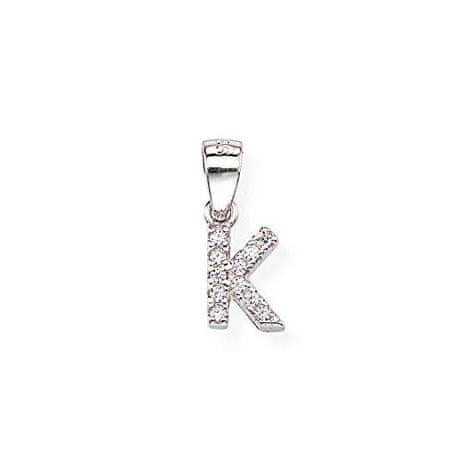 Amen Ezüst medál cirkónium kövekkel K betű Letterami L-K ezüst 925/1000