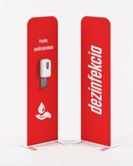 PREZENTA FLEXI dezinfekčný stojan ČERVENÝ s bezdotykovým dávkovačom na gélovú dezinfekciu a batériami.