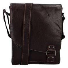 Green Wood Stylová pánská kožená taška s klopou Radan, hnědá