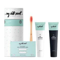 My White Secret Gift Pack I (Bělící pásky, denní a noční zubní pasta, kartáček)