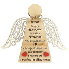 AMADEA Dřevěný anděl stojící s křídly a motivačním textem, masivní dřevo, 18 x 15 cm