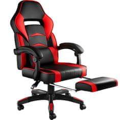 tectake Kancelářská židle s opěrkou pro nohy - černá/červená