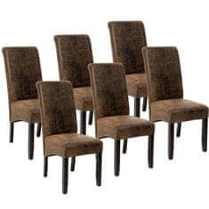tectake 6 Jedálenská stolička ergonomické, masívne drevo - vintage hnědá